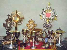 Calici e reliquiari del convento