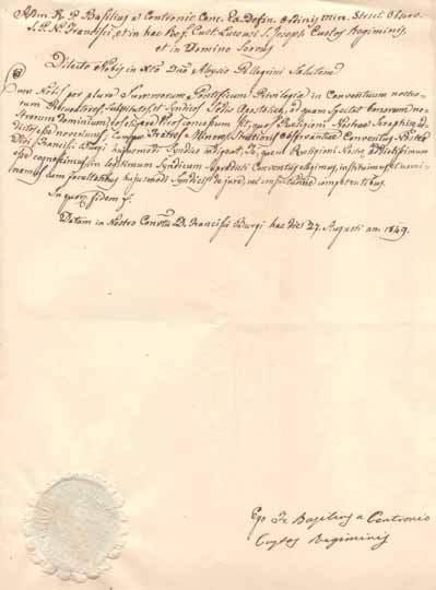 Il decreto di nomina a Sindaco Apostolico di Luigi (Aloysio) Pellegrini