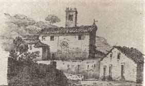 La chiesa di Oneta in un disegno del 1850