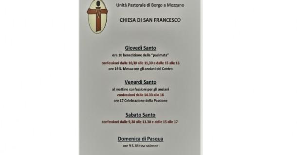 Gli Orari della Settimana Santa al convento